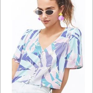 F21 Tropical Retro Crop Top